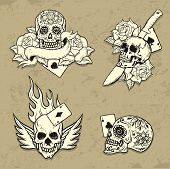 image of pistol  - Set of Old School Tattoo Elements with skulls - JPG