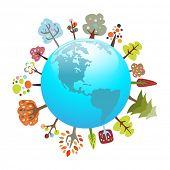 Постер, плакат: Экологически Планета с красочными деревья подходит для эко темы