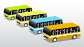 stock photo of four-wheel drive  - Buses in four colors vector 3d illustration - JPG