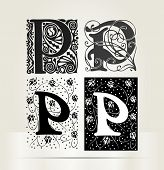picture of letter p  - Vector ornamental letter  P sign alphabet and icon - JPG