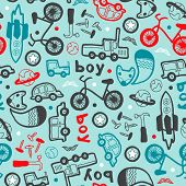 image of hand truck  - Seamless boys bike and car icon illustration background pattern in vector - JPG