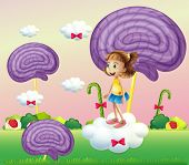Illustration of a girl above the cloud surrounded with spiral candies