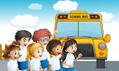 picture of kinetic  - Illustration of the young students waiting for the schoolbus - JPG