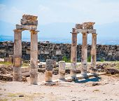 Temple near South Gate in Hierapolis ancient Greco-Roman and Byzantine city. It is is located adjace