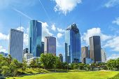 stock photo of skyscrapers  - Skyline of Houston Texas in daytime under blue sky - JPG