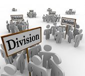 pic of segregation  - Many groups of teams or workers are divided into categories around signs market Division to illustrate working in departments for a company or organization - JPG