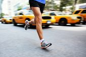 stock photo of cabs  - Running in New York City  - JPG