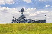 pic of battleship  - The Famous Dreadnought Battleship Texas under blue cloudy sky - JPG