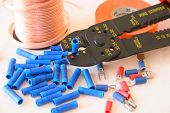 pic of electrician  - Assortment of an electrician supplies and tools - JPG
