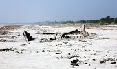 pic of sundarbans  - Wrecked fishing boat after a cyclone hit the Sundarbans of Bangladesh - JPG