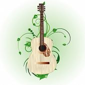 picture of acoustic guitar  - Grunge vector music background for design use - JPG