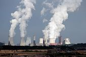 picture of fumes  - Row of brown coal power plants smoke emmision - JPG