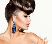 stock photo of woman glamorous  - Fashion Model Girl Portrait with Blue Earrings - JPG