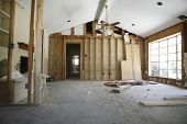 stock photo of stud  - View of partition wall in house under renovation - JPG