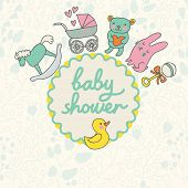 Baby shower card design in vector. Cartoon childish elements in stylish colors. Baby background in c