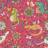 Bright fantastic background with flowers and cartoon dragons. Seamless pattern can be used for wallp