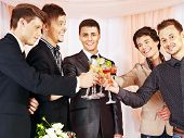 stock photo of bachelor party  - Group people at stage party before wedding - JPG