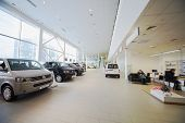 MOSCOW - JAN 11: The Official Dealer Volkswagen - Center Varshavka, hall with a range of cars on Jan