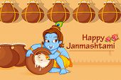 picture of krishna  - illustration of Lord Krishna stealing makhaan in Janmashtami - JPG