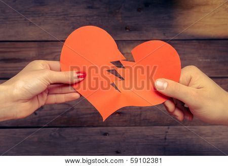 Broken Red Paper Heart