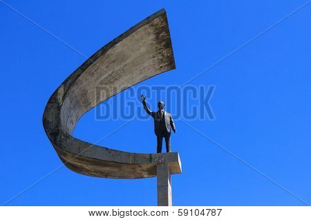 BRASILIA - AUGUST 13: Closeup view on Memorial JK on August 06, 2013 in Brasilia, Brazil