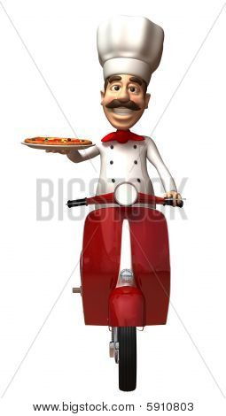 Fun chef with a pizza