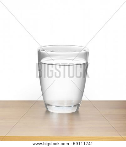 Glass of water on a wood
