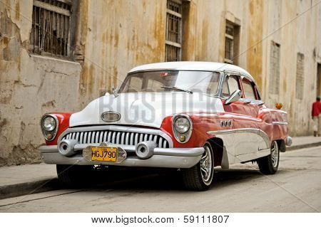 HAVANA - JANUARY 3: A vintage car parked in Havana, Cuba on January 3, 2012.
