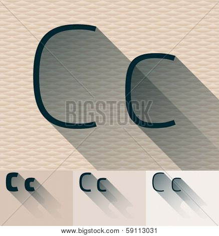 Vector illustration of flat modern long transparent shadow alphabet. Letter c