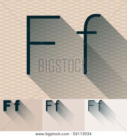 Vector illustration of flat modern long transparent shadow alphabet. Letter f