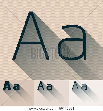 Vector illustration of flat modern long transparent shadow alphabet. Letter a