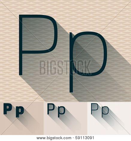 Vector illustration of flat modern long transparent shadow alphabet. Letter p