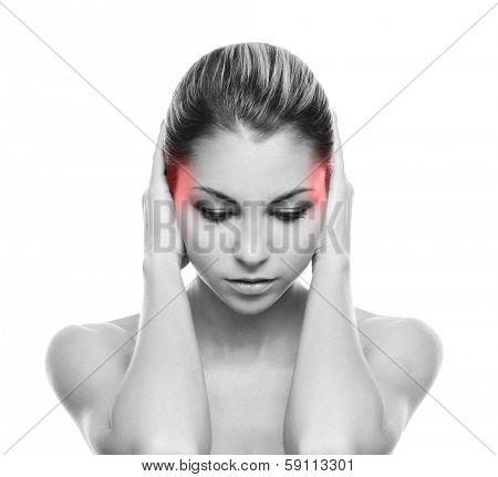 Beautiful woman suffering from the head ache