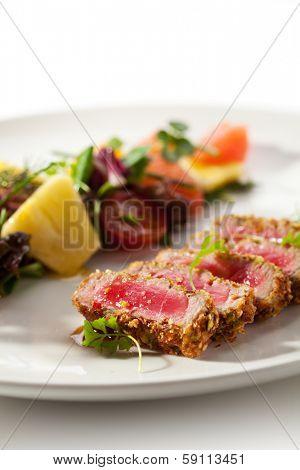 Medium Rare Tuna with Fruit Salad
