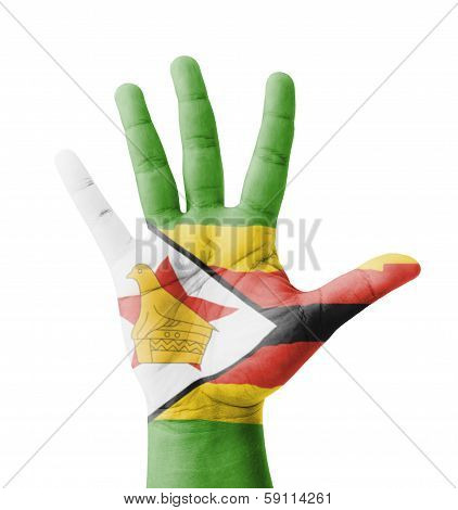 Open Hand Raised, Multi Purpose Concept, Zimbabwe Flag Painted - Isolated On White Background