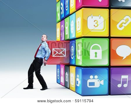 businessman push icon abstract cube