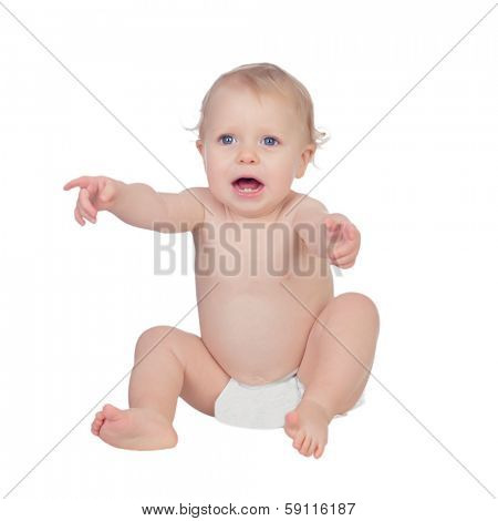 Adorable blond baby in diaper crying sitting on the floor isolated on a white background