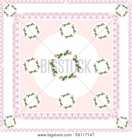 garlands of pink roses as pattern for tablecloth