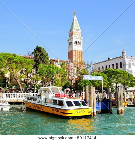 VENICE, ITALY - OCTOBER 02, 2013: Vaparetto on the berth of San Marco station in Venise