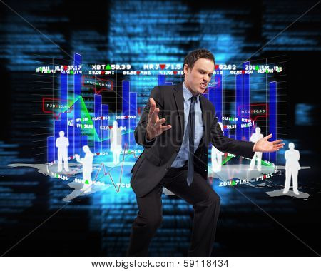 Businessman posing with arms outstretched against shiny hexagons on black background