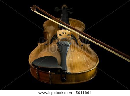 Old Violin And Bow, Low Angle View