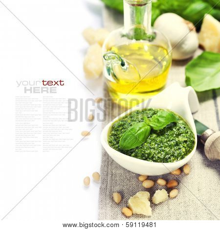 closeup of freshly made pesto  (with easy removable sample text)