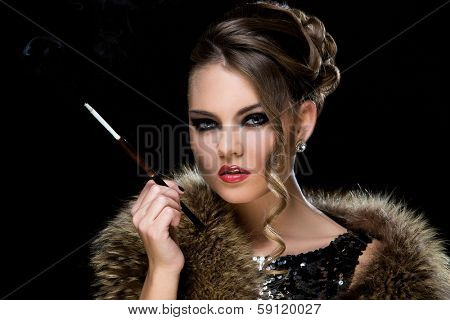 Retro. Attractive woman with cigarette