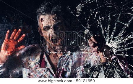 Creepy zombie breaks the window