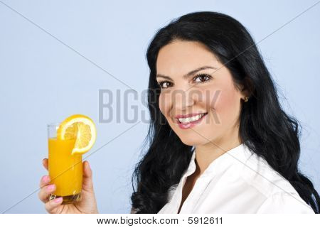 Happy Woman With Orange Juice