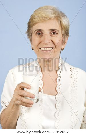 Healthy Old Woman Drinking Milk