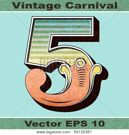 The Number 5, Five of an Alphabet Sit of Vintage, Carnival, Circus, Funfair, Fishtail Letters and Numbers.