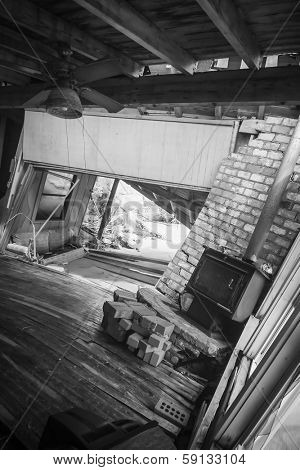 interior of home destroyed by storm surge in flood.