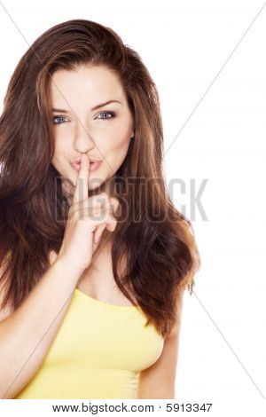 Mulher bonita dizendo Shh