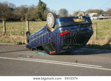 Crashed Car Upside Down On Roof